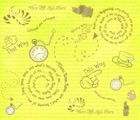Time To Go Back Yellow fabric by gnarllymamadesigns on Spoonflower - custom fabric