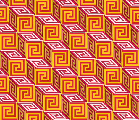 Pandora's Box in Gold and Red fabric by elramsay on Spoonflower - custom fabric
