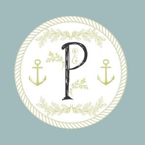 Vintage Nautical Initial - P