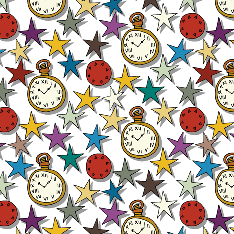 time stars white fabric by scrummy on Spoonflower - custom fabric