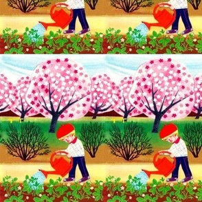 vintage kids whimsical gardens cherry blossoms Sakura trees shrubs bushes flowers plants watering can boy children farms seamless border