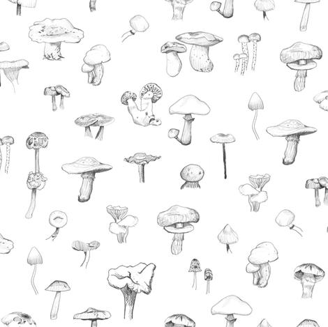 The Mushroom Gang - Open fabric by crumpetsandcrabsticks on Spoonflower - custom fabric