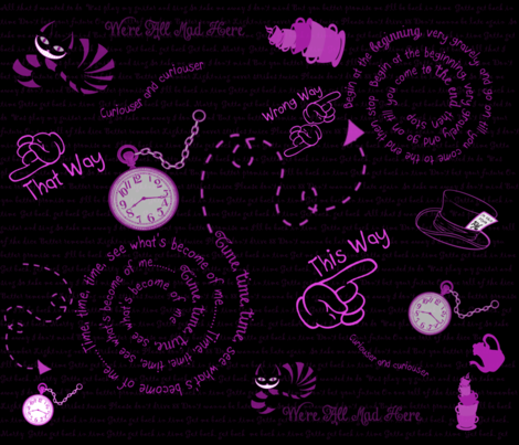 Time To Go Back Black White Pink All Over fabric by gnarllymamadesigns on Spoonflower - custom fabric