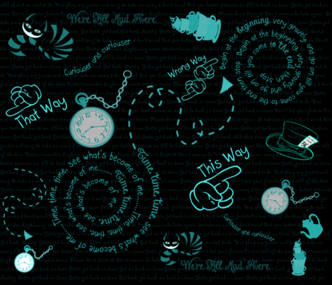 Time To Go Back Blackout Blue fabric by gnarllymamadesigns on Spoonflower - custom fabric