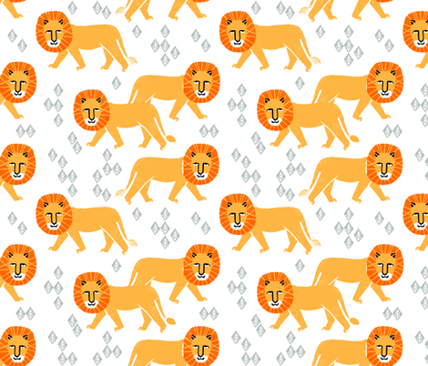 safari lion // kids zoo safari lions nursery baby fabric by andrea_lauren on Spoonflower - custom fabric