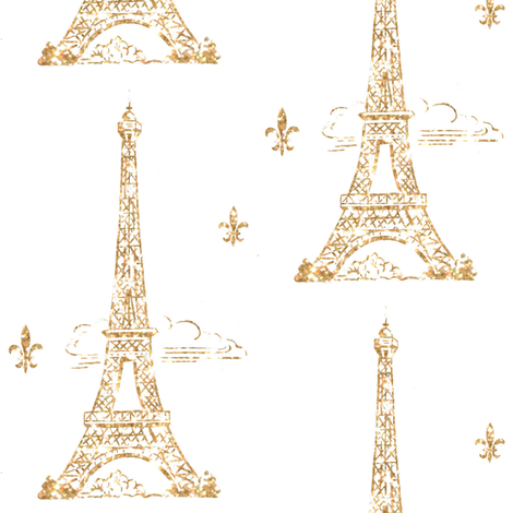 Glitter Gold Eiffel Tower in the clouds fabric by parisbebe on Spoonflower - custom fabric