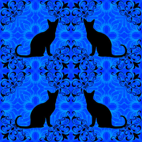 Cat Damask 10 fabric by dovetail_designs on Spoonflower - custom fabric