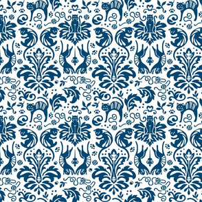 Damask Cats Reverse - BLUE