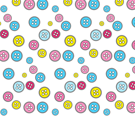 Buttons Fabric Turquoise fabric by de-ann_black on Spoonflower - custom fabric