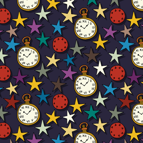 time stars fabric by scrummy on Spoonflower - custom fabric