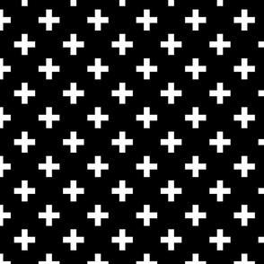 white cross on black