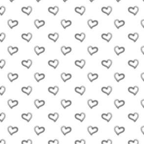 small monochrome hearts