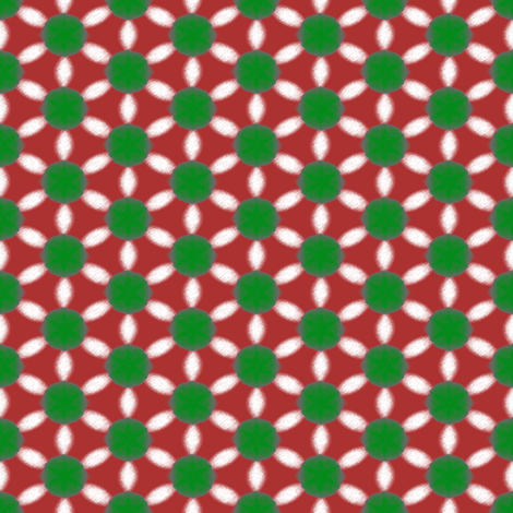 Dotty Daisy Net   -Green and White on Red fabric by fireflower on Spoonflower - custom fabric