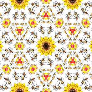 Fuzzy Bees on White