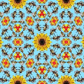 Darker bees on blue