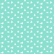 Doves in Flight in Mint Green