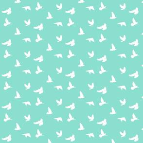 Doves in Flight in Mint Green