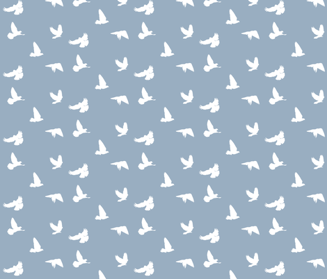 Doves in Flight, Grey Blue for Desert Meadow Collection fabric by thistleandfox on Spoonflower - custom fabric