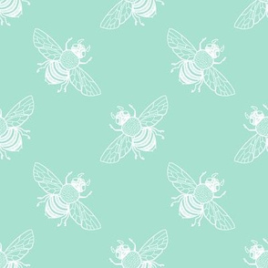 Baby Bee in white diagonal on seafoam