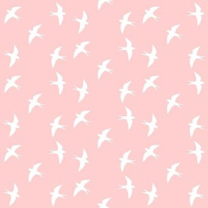 Swooping Swallow Silhouette, White on Rose Pink