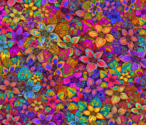 FLOWERS MISH MASH XL ALMOST FLAMBLOYANT FALL fabric by paysmage on Spoonflower - custom fabric