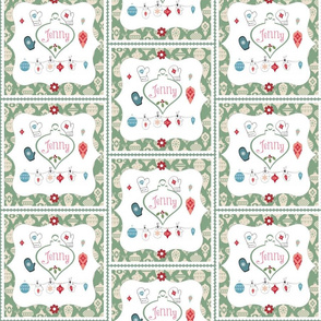 Mittens and Ornaments-Quilt personalzied