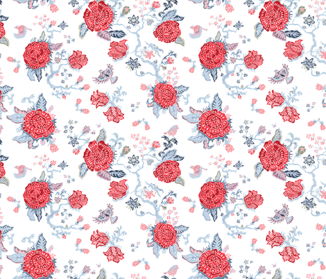 Birds, Bees and Roses fabric by fossan on Spoonflower - custom fabric
