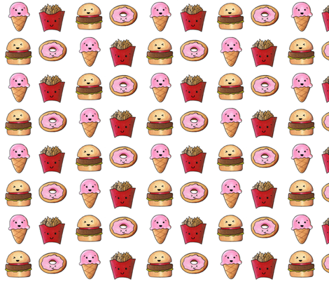 Kawaii Fast Food fabric by interrobangart on Spoonflower - custom fabric