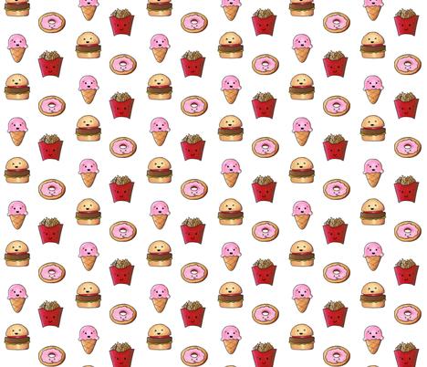 Kawaii Fast Food 2 fabric by interrobangart on Spoonflower - custom fabric