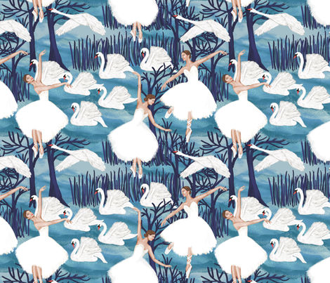 lake in light blue fabric by kociara on Spoonflower - custom fabric