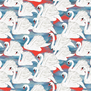 swans on red