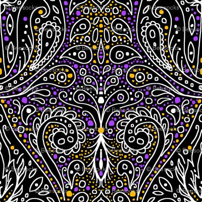 exotic paisley damask, halloween colors