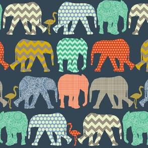 tiny baby elephants and flamingos sienna