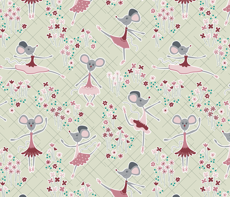 Dancing Mice (Spring) fabric by brendazapotosky on Spoonflower - custom fabric