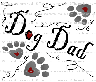 Dog Dad paw prints hearts