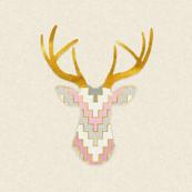 Deer Silhouette in Gilded Lavender