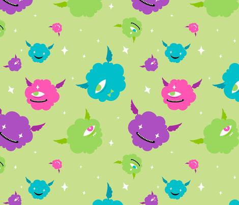 Monsters green fabric by earlfoolish on Spoonflower - custom fabric