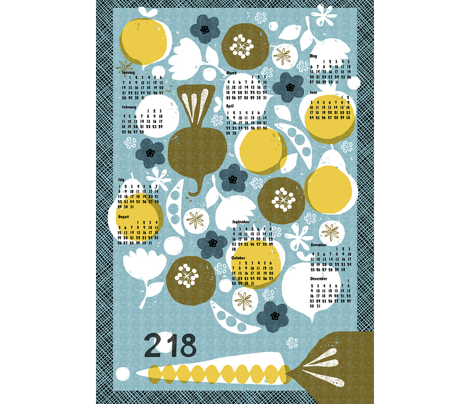 2018 produce tea towel calendar - 27 inch