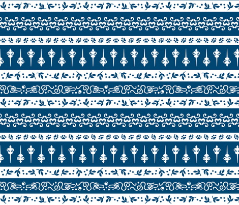 Damask Cats Stripe - BLUE fabric by mooniocreations on Spoonflower - custom fabric