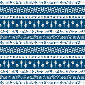 Damask Cats Stripe - BLUE