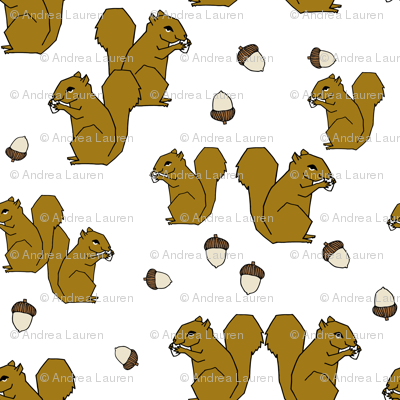 squirrels fabric // ochre brown kids golden fall autumn woodland acorn acorns