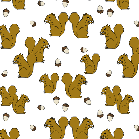 squirrels fabric // ochre brown kids golden fall autumn woodland acorn acorns fabric by andrea_lauren on Spoonflower - custom fabric