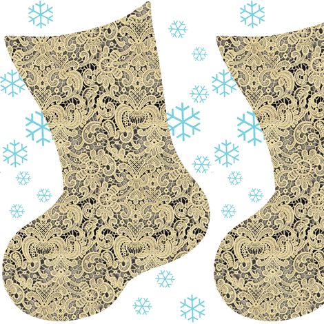 Lace Christmas Stocking DIY Cut and Sew Project fabric by bohobear on Spoonflower - custom fabric