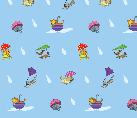 It's raining, cats and dogs! fabric by margreetdeheer on Spoonflower - custom fabric