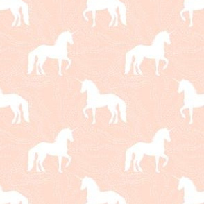 Prancing Unicorn Peach Stitched