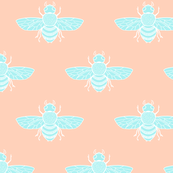 Baby Bee, Blue on Peach