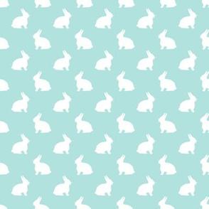 White Bunny on Eggshell Blue