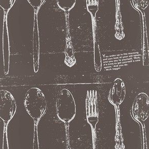 Antique Spoons & Fork Gray