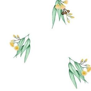 Gum Blossom Yellow Scattered on White, v3