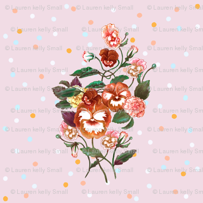 Pansy Posy Orange Pink and Dots